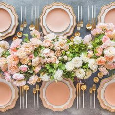 Wednesday morning Sunrise at #cdphq  Insanely gorgeous florals by @megan_gray were sourced from @roselanefarms and perfectly paired with our authentic Anna Weatherley Chargers in Desert Rose/24k Gold + AW Dinnerware in White/24k Gold + Custom Heath Ceramics in Sunrise + Goa Flatware in Brushed 24k Gold/White + Bella 24k Gold Rimmed Stemware in Blush + 14k Gold Salt Cellars + Tiny Gold Spoons #cdp3x3