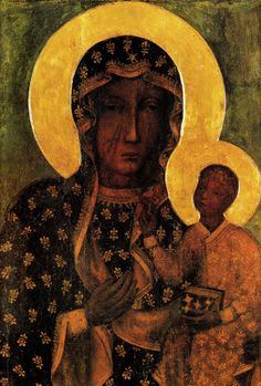 Our Lady of Czestochowa Black Madonna and Child Jesus Icon CANVAS print from Poland Catholic Paintings Virgin Mary Print Art Polish Gifts Oil Painting Gallery, Modern Oil Painting, Oil Paintings, Catholic Art, Religious Art, Juan Pablo Ll, Our Lady Of Czestochowa, Catholic Pictures, Madonna And Child