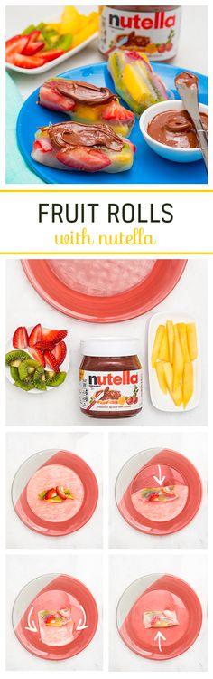 Want to try an Asian spin on rolls with Nutella®? For these special fruit rolls, immerse your rice paper wrapper in warm water for 10 seconds and lay it out. Place small pieces of mango, strawberry and kiwi in the middle. Tuck the top end, then the sides, leaving the bottom last. Spread with Nutella® and enjoy every yummy, chewy bite.