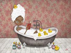 bibliolectors: Rest, bathing and reading / Descanso, baño y lectura (ilustración de Corazón Hada)
