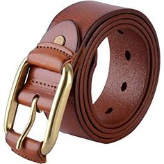 Canwelum Full Grain Mens Belt, Brown Leather Belts, Mens Leather Belt for Jeans with Copper Buckle