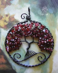 Red Garnet Tree of Life Wire Wrapped Pendant by RachaelsWireGarden Wire Wrapped Pendant, Wire Wrapped Jewelry, Wire Jewelry, Pendant Jewelry, Jewellery, Jewelry Rings, Make Your Own Jewelry, Jewelry Making, Tree Of Life Pendant