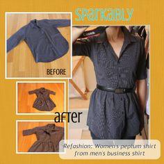 Sparkably: Refashion Tutorial – Men's shirt to women's peplum shirt