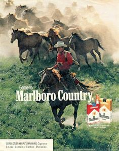 1985 Come to Marlboro Country Marlboro Cowboy, Marlboro Man, Real Cowboys, Cowboys And Indians, Cowboy Horse, Cowboy And Cowgirl, Vintage Advertisements, Vintage Ads, New Advertisement