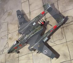 """1:72 Luft '46 - """"Red 3"""" Focke Wulf Fighter with BMW 803 engine (kitbashing/scratch-built) - Top view, via Flickr."""