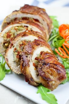 Bacon Wrapped Chicken Breasts (stuffed with artichoke, sundried tomatoes, water chestnuts, pine nuts)