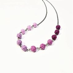 Pink Textile Necklace. Pretty Pink Wool Yarn Beads. Waterdrop