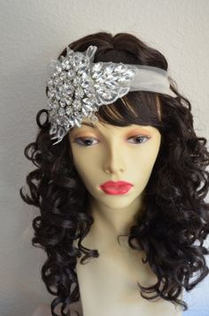 High Sparkle all Crystal rhinestone headpiece, made with illusion tulle, English lace. One of a Kind