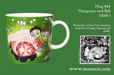 Mug – Thingumy and Bob Produced: Illustrated by Tove Slotte and manufactured by Arabia. The original artwork can be found in the book Finn Family Moomintroll by Tove Jansson. Moomin Mugs, Tove Jansson, Hobgoblin, The Book, Original Artwork, History, Illustration, Books, Tableware