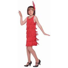 Girls Red Flapper Costume, Girl's, Multicolor