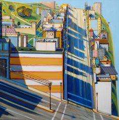 San Francisco West Side Ridge -Wayne Thiebaud Look who I saw in the Smithsonian Museum of American Art! Art Pop, Wayne Thiebaud Paintings, Modern Art, Contemporary Art, City Painting, Edward Hopper, National Portrait Gallery, Arte Popular, Urban Landscape