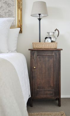 LOVE this stain color on the cabinet.  More info on blog post about how to achieve it.
