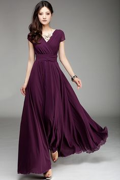 elegant fashion maxi surplice chiffon dress has a v neckline, and cap sleeves,high waist ruffles. totally maxi and that still keeps you fashion and graceful. pair it with a strappy bra and high heels!