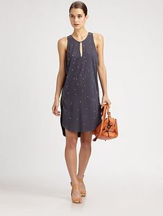 Embellished Silk-Trim Dress