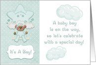 Mint Green Teddy Bear, Baby Boy Shower Invitation Card by Greeting Card Universe. $3.00. 5 x 7 inch premium quality folded paper greeting card. Baby Shower cards for the whole family are available at Greeting Card Universe. Baby Shower cards are always more memorable when they are sent the old-fashioned way. Look no further than Greeting Card Universe for your Baby Shower card needs. This paper card includes the following themes: baby boy shower, green, and mint gre...