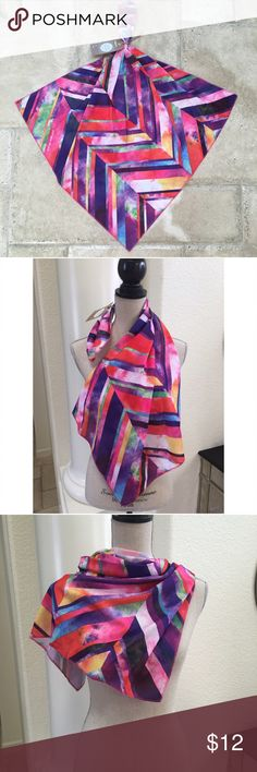 "Lush scarf multi color chevron stripe red purple Lush scarf 27"" square multi color chevron stripe ✨ happy birthday knot wrap tag Lush Accessories Scarves & Wraps"