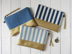nautical clutch bag, cosmetic bag, canvas purse, stripe makeup bag, summer clutch, blue white striped pouch, vegan leather clutch