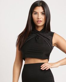 Brett Robson Tumi Ruched Wrap-Over Crop Top Black One Day Only, Shirt Blouses, Shirts, Tumi, Black Crop Tops, Athletic Tank Tops, Lady, Shopping, Women