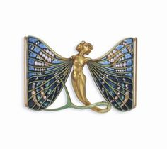 ART NOUVEAU ENAMEL, DIAMOND AND GOLD DOG COLLAR PLAQUE, BY RENE LALIQUE, circa 1900 Designed as a winged sylph in full relief with legs metamorphising into an undulating chased gold and green enamel insect tail, with outstretched pale green enamelled gold veined wings, enhanced by shades of blue plique-à-jour enamel and old mine-cut diamonds. Signed Lalique for René Lalique