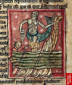 Detail of a miniature of the siren (Syrene) or mermaid who holds a fish, and the prow of a boat with two men in it, one rowing.   Origin:England, S. (Salisbury?)