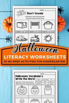 These kindergarten literacy worksheets for kindergarten were a great addition in my classroom. The set includes kindergarten sight words, cvc word worksheets, alphabet activities, and more. The kindergarten printables are so fun and include so many cute graphics, just like a game. The Halloween printables activities can be used during homeschool, or in the classroom for kindergarten and first grade students. #kindergartenclassroom #halloweenactivities 1st Grade Activities, Counting Activities, Alphabet Activities, Classroom Activities, Halloween Vocabulary, Halloween Math, Halloween Activities For Kids, Free Kindergarten Worksheets, Free Worksheets
