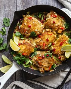 Ready for a tasty weeknight dinner that comes together in under 30 minutes? Whip up these crispy chicken thighs! Pulsing a sofrito in the food processor saves you a ton of prep time while also creating a flavorful base for more. Healthy Cooking, Healthy Recipes, Healthy Meals, Crispy Chicken, Chicken Feed, Cherry Tomato Sauce, Almond Milk Recipes, Stuffed Whole Chicken, Curry Recipes