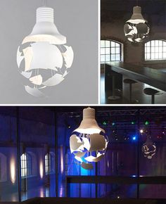 an effective blend of the 'bare bulb' industrial aesthetic and a quirky artistic surprise