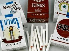 candy cigarettes with that white powder that you blew like smoke