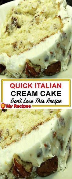Quick Italian Cream Cake Recipe, Italian Cream Cakes, Italian Cake, Italian Cream Cheesecake Recipe, Italian Cupcakes, Italian Desert, Easy Desserts, Delicious Desserts, Yummy Food