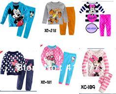 a37e099969ba 2013 Kids Pajamas Kids Pyjamas Baby Girl Minnie Mickey Hello kitty Cartoon  Sleepwear Children Wear baby