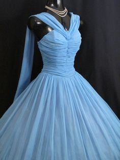 Vintage 1950's 50's 50s Sky BLUE Ruched CHIFFON by VintageVortex