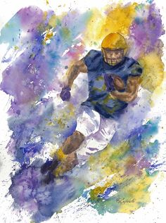 """and Goal"""". Go Team! This watercolor measures x and is sold unframed and unmatted. Watercolors, Watercolor Paintings, Goals Football, Master Chief, Note Cards, Giclee Print, The Originals, Artist, Prints"""