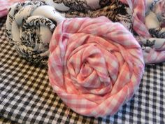 Creating Fabric Roses {using two different fabrics}