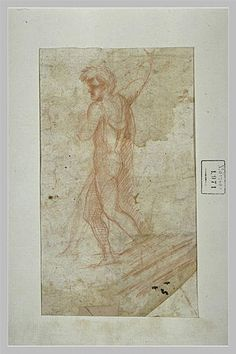 Standing man by Paolo Uccello. Early Renaissance. sketch and study. Musée National Gustave Moreau, Paris, France