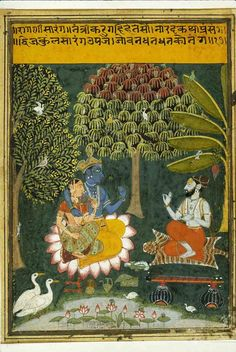 Radha and Krishna with a disciple.  Mewar ca. 1700 India
