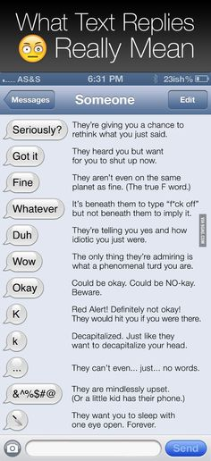 what text replies really mean..