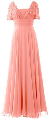 MACloth Women Long Mother of Bride Dress Short Sleeves Lace Evening Gown MACloth Lace Evening Gowns, Blush Pink Dresses, Straight Skirt, Lace Back, Short Sleeve Dresses, Short Sleeves, Mother Of The Bride, Chiffon, Formal Dresses