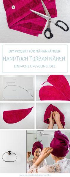 Heute habe ich ein tolles Upcycling Projekt für euch, wie man alte Handtücher wiederverwenden kann. Und zwar eine einfache Anleitung zum Handtuchturban nähen. Ein tolles Nähprojekt für Nähanfänger! Der Handtuchturban ist total schnell genäht und wegen dem gratis Schnittmuster super einfach umzusetzen. Einfach das kostenlose Handtuchturban Schnittmuster ausdrucken und los nähen. #upcycling #diy #nähenfüranfänger Reuse Recycle, Upcycle, Toilet Roll Holder Storage, Upcycling Ideas, Easy Projects, Vintage Wood, Zero Waste, Turban, Sewing Ideas