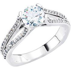 Platinum 1/4 CTW Diamond Semi-set Engagement Ring for 6.5mm Round Center