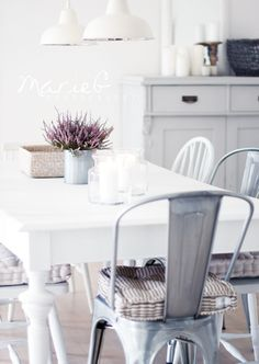 This is perfection. #white #stripes #metalchairs, #lavender