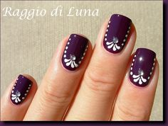 Raggio di Luna Nails: Nail stickers inspiration manicure on Orly Plum Noir Get Nails, Fancy Nails, Pretty Nails, Hair And Nails, Dark Nails, Purple Nails, Gradient Nails, White Nails, Nail Art Modele