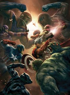 Avengers vs Skrulls by Aleksi Briclot