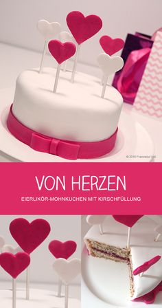 VON HERZEN - Eierlikör-Mohnkuchen mit Kirschfüllung - Fondant Torte