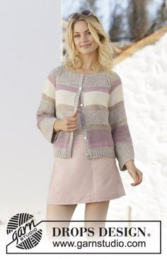 Ravelry: Rose Water Jacket pattern by DROPS design Ladies Cardigan Knitting Patterns, Cardigan Pattern, Jacket Pattern, Knitting Patterns Free, Free Knitting, Knit Cardigan, Crochet Jacket, Knit Jacket, Crochet Blouse