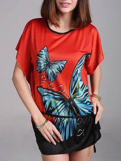 Butterflies Pattern Beautiful Short Loose Sleeve Casual Tee Shirt For Women on buytrends.com