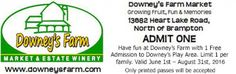 Downeys Farm, Market & Estate Winery Coupon - admit one Ontario Attractions, Enjoy Your Vacation, Admit One, Coupons, Have Fun, Canada, Marketing, Coupon