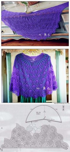 'АНАНАСОВАЯ' ШАЛЬ Crochet Shawl, Crochet Lace, Yarn Crafts, Diy And Crafts, Cool Patterns, Crochet Clothes, Knitting, Aurora, Women