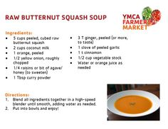 Raw Butternut Squash Soup - 2013 YMCA Farmers Market