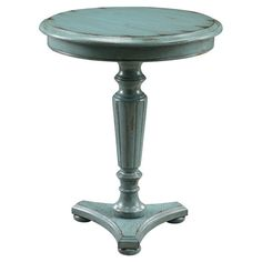 A charming canvas for your favorite family photos or a vase of bright blooms, this pedestal-style wood end table features a fluted column and distressed blue...