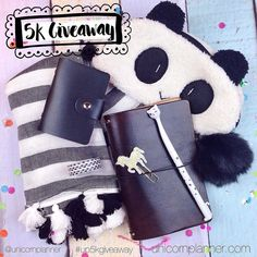 Eeeekks!! Since I hit 5000 followers it's time for another GIVEAWAY!   One lucky @unicornplanner follower will win all these goodies! The winner will receive one of our personal size leather Delta Traveler notebooks in mocha a white unicorn clip a white kitty pen a black washi wallet black heart washi and a black puff pom all from my store. The winner will also receive a panda pouch and gorgeous stripe scarf perfect for fall! Plus some mystery goodies!   :: to enter ::  You must be following…